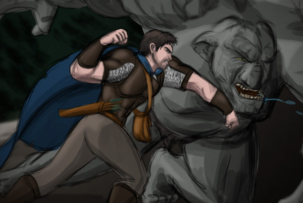 Illustration: Caiden Punching a Troll, Digital (Photoshop)