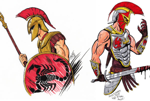 Spartan Hoplite and Tom Drake (Wulfgard), Traditoinal Pencil, Ink, and Markers